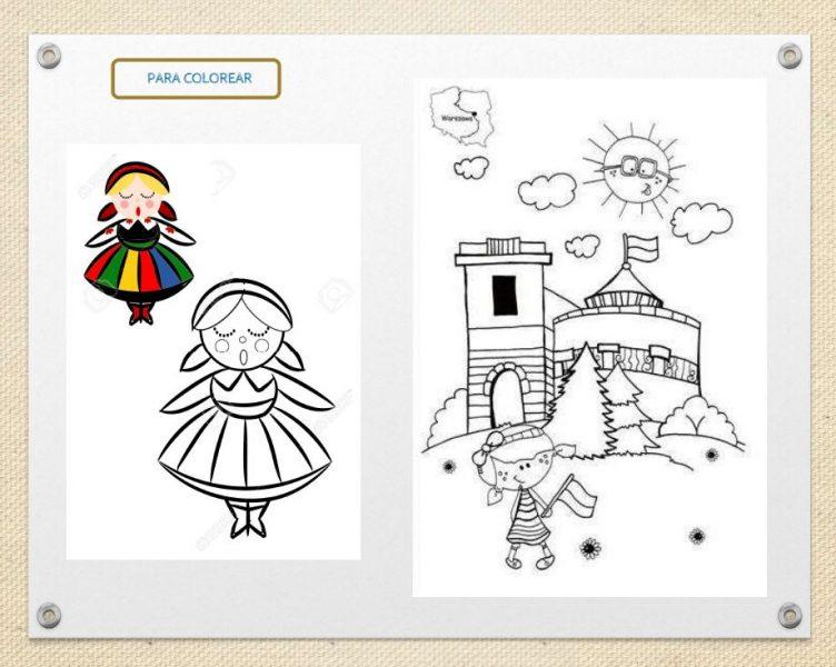 dibujos para colorear, un castillo y una niña en traje regional