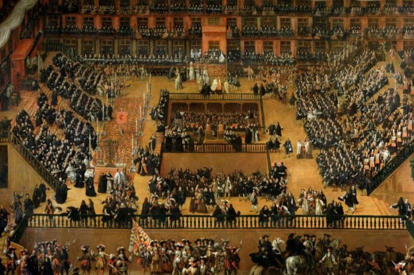 imagen de auto de fe en la plaza mayor (pintura renacentista)
