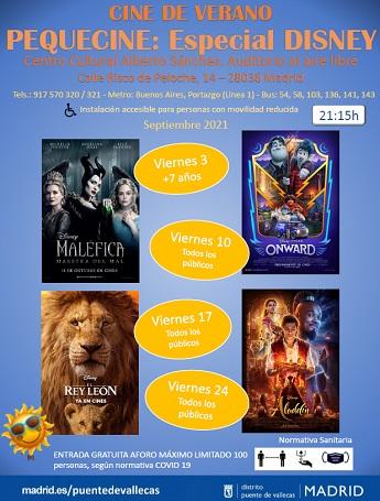 cartel de la programación, en orden de los viernes de septiembre: maléfica, onward, el rey león y aladdin