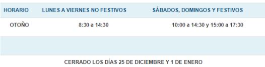 de 8.30 a 14.30 entre diario y domingos y festivos de 10.00 a 17.30